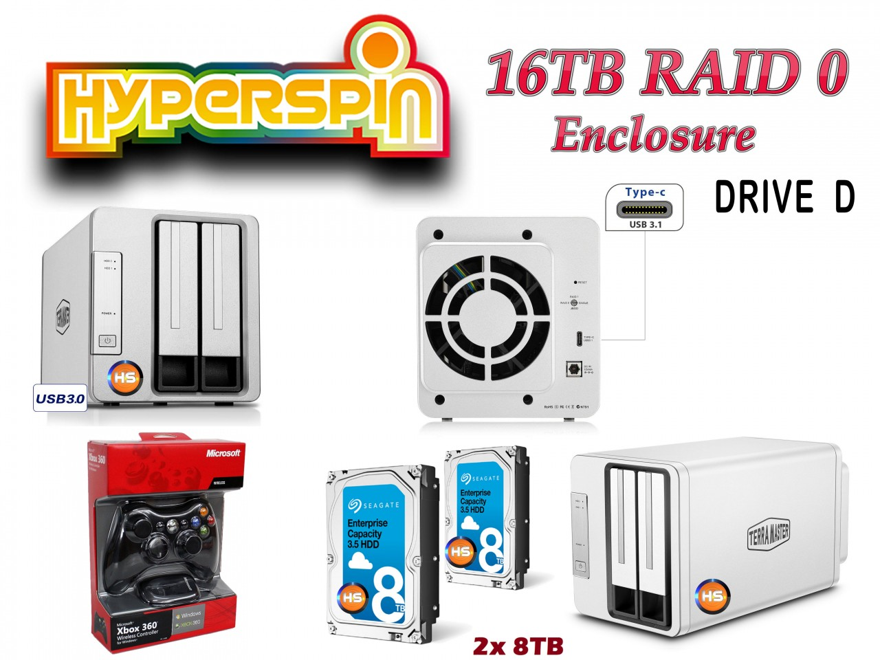 16TB Hyperspin Drive RAID with Controller